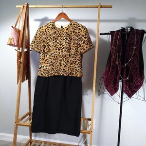 Maggy London Silk Leopard Cheetah Midi Dress L